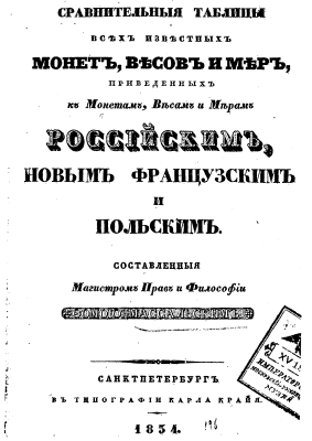 rus 1834 - Massaljskij Comparison of Russian Money Weight and other Measurements with other systems